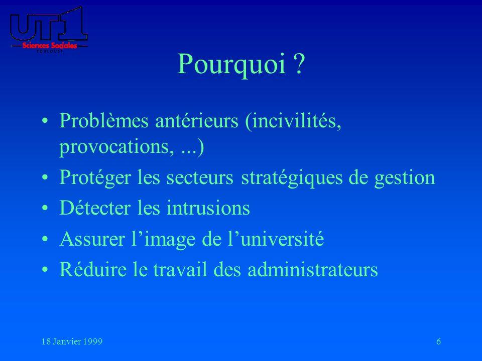 18 Janvier 19996 Pourquoi ? Problèmes antérieurs (incivilités, provocations,...) Protéger les secteurs stratégiques de gestion Détecter les intrusions