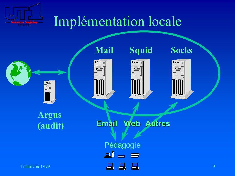 18 Janvier 19999 Implémentation locale SocksSquidMail Argus (audit) Pédagogie EmailWebAutres