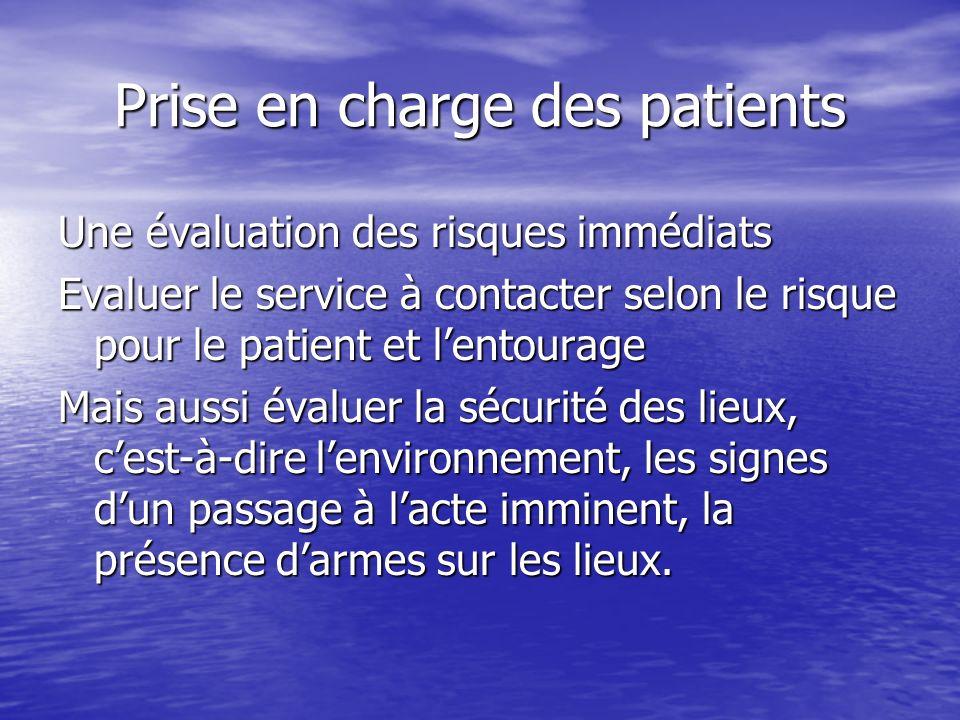 Prise en charge des patients Une évaluation des risques immédiats Evaluer le service à contacter selon le risque pour le patient et lentourage Mais au