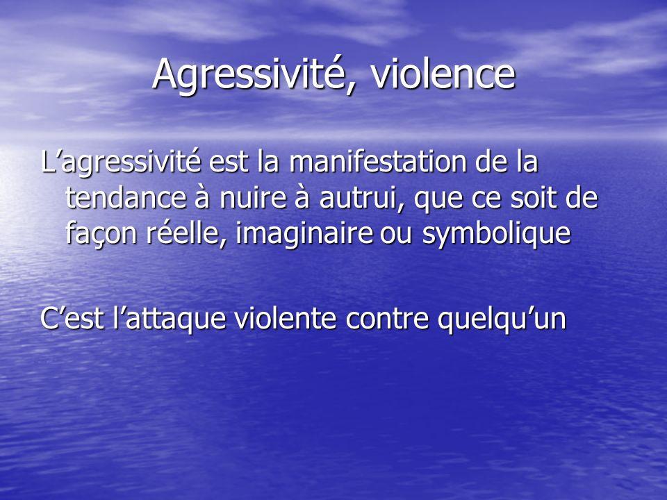 Agressivité, violence Lagressivité est la manifestation de la tendance à nuire à autrui, que ce soit de façon réelle, imaginaire ou symbolique Cest la