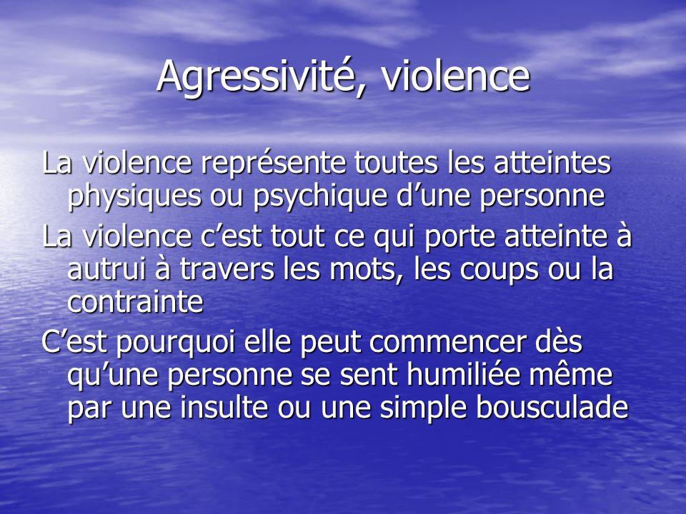 Agressivité, violence La violence représente toutes les atteintes physiques ou psychique dune personne La violence cest tout ce qui porte atteinte à a