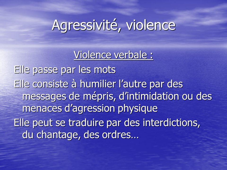 Agressivité, violence Violence verbale : Elle passe par les mots Elle consiste à humilier lautre par des messages de mépris, dintimidation ou des mena