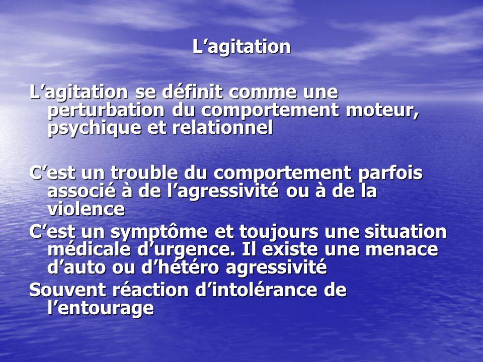 Lagitation Lagitation se définit comme une perturbation du comportement moteur, psychique et relationnel Cest un trouble du comportement parfois assoc