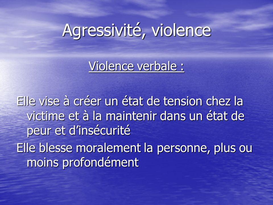 Agressivité, violence Violence verbale : Elle vise à créer un état de tension chez la victime et à la maintenir dans un état de peur et dinsécurité El