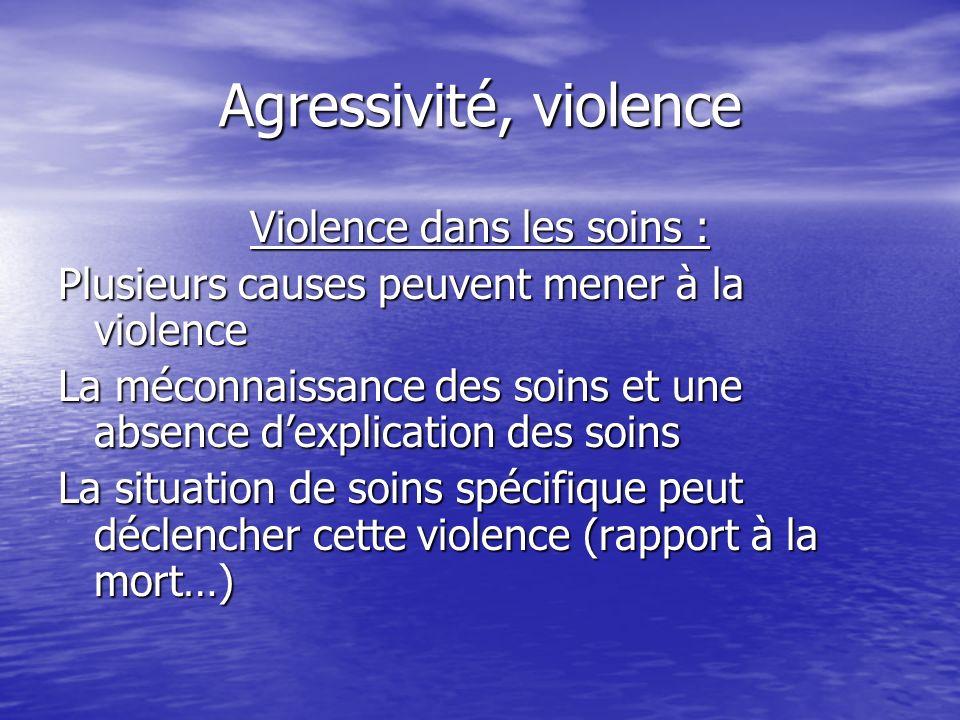 Agressivité, violence Violence dans les soins : Plusieurs causes peuvent mener à la violence La méconnaissance des soins et une absence dexplication d