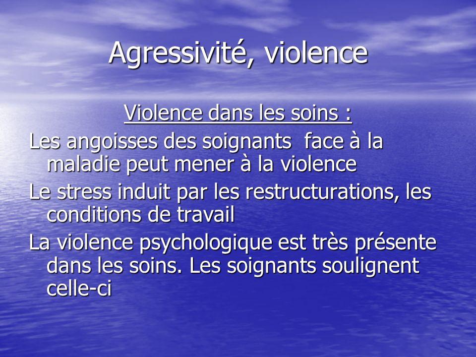 Agressivité, violence Violence dans les soins : Les angoisses des soignants face à la maladie peut mener à la violence Le stress induit par les restru