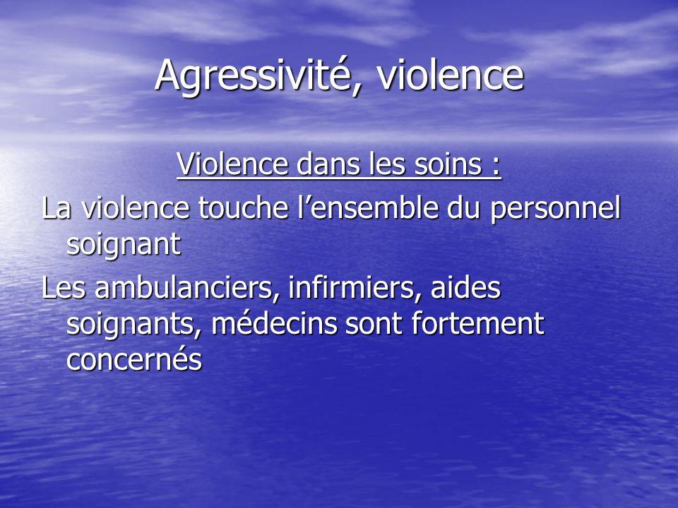 Agressivité, violence Violence dans les soins : La violence touche lensemble du personnel soignant Les ambulanciers, infirmiers, aides soignants, méde