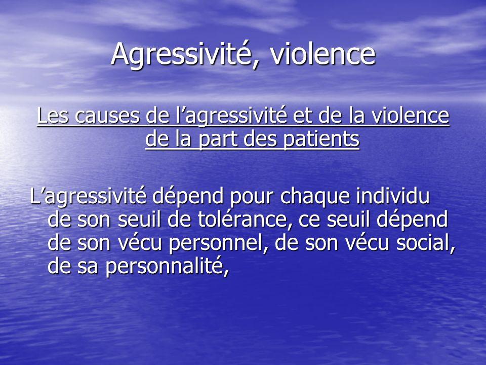 Agressivité, violence Les causes de lagressivité et de la violence de la part des patients Lagressivité dépend pour chaque individu de son seuil de to