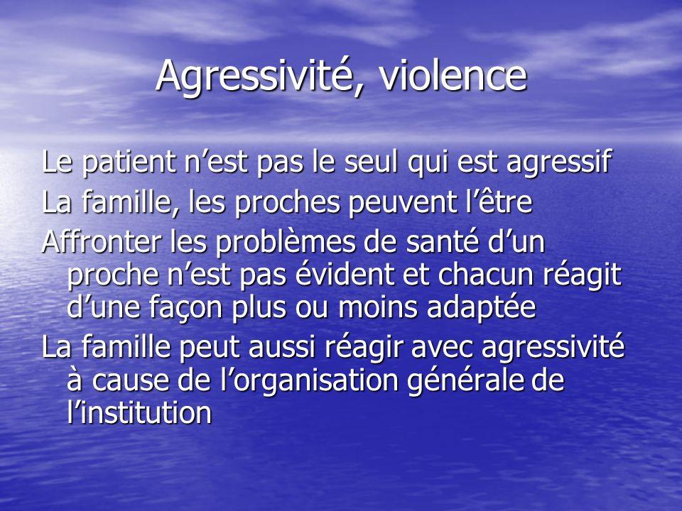 Agressivité, violence Le patient nest pas le seul qui est agressif La famille, les proches peuvent lêtre Affronter les problèmes de santé dun proche n