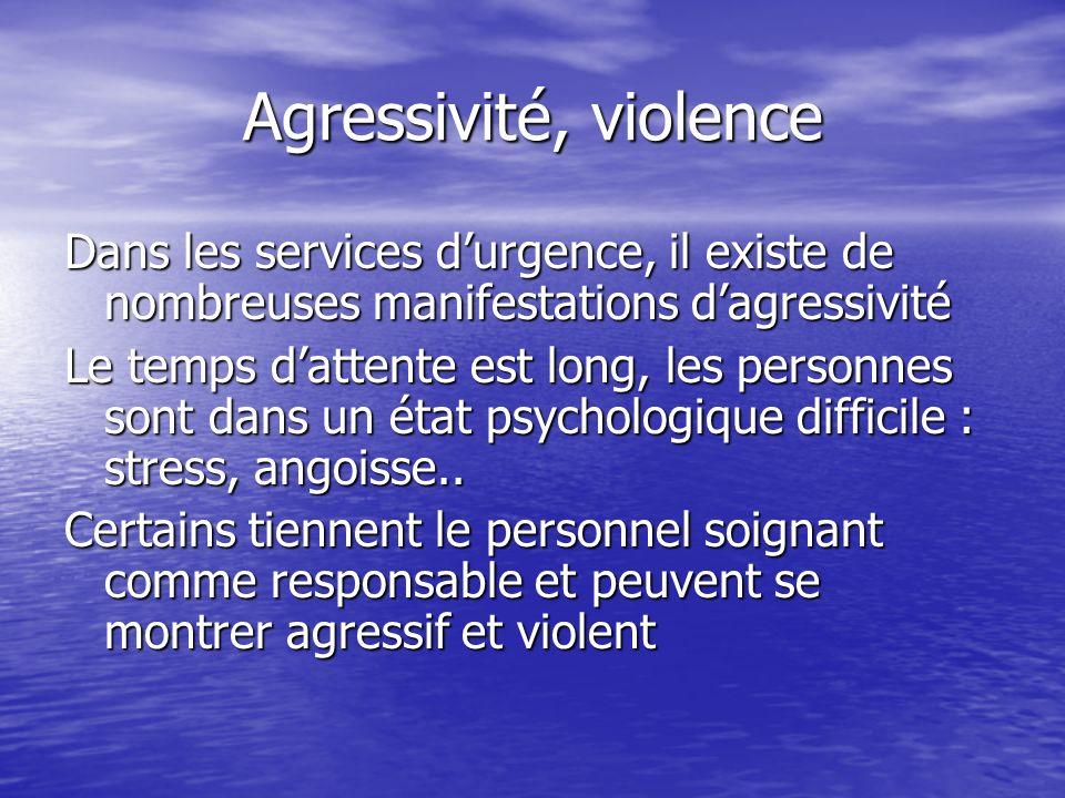 Agressivité, violence Dans les services durgence, il existe de nombreuses manifestations dagressivité Le temps dattente est long, les personnes sont d
