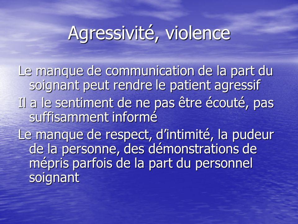 Agressivité, violence Le manque de communication de la part du soignant peut rendre le patient agressif Il a le sentiment de ne pas être écouté, pas s