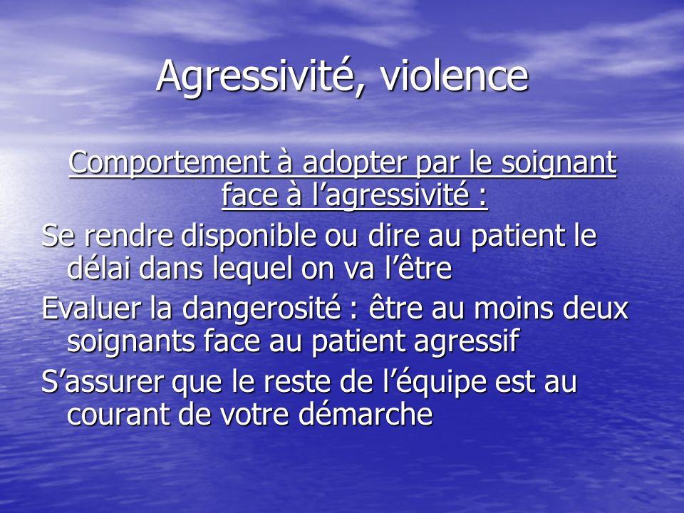 Agressivité, violence Comportement à adopter par le soignant face à lagressivité : Se rendre disponible ou dire au patient le délai dans lequel on va
