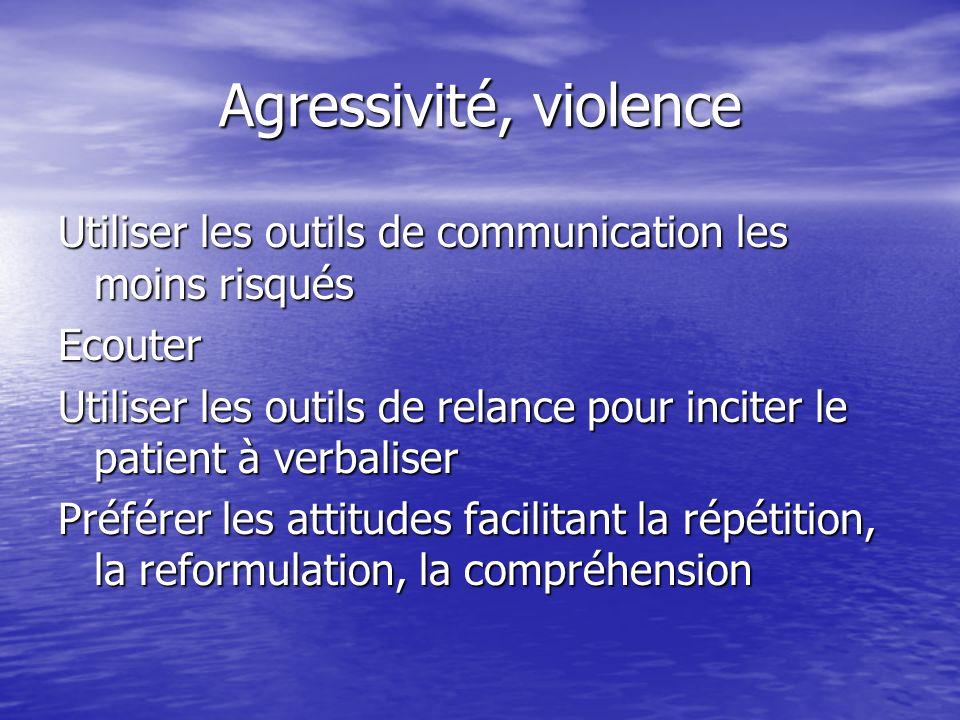 Agressivité, violence Utiliser les outils de communication les moins risqués Ecouter Utiliser les outils de relance pour inciter le patient à verbalis