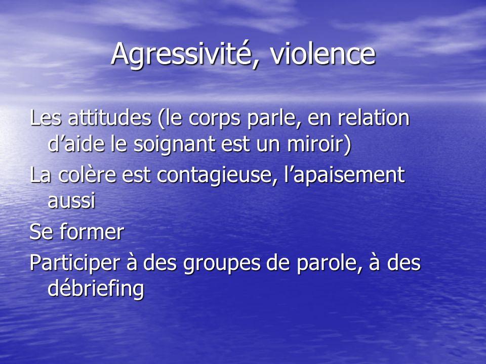 Agressivité, violence Les attitudes (le corps parle, en relation daide le soignant est un miroir) La colère est contagieuse, lapaisement aussi Se form