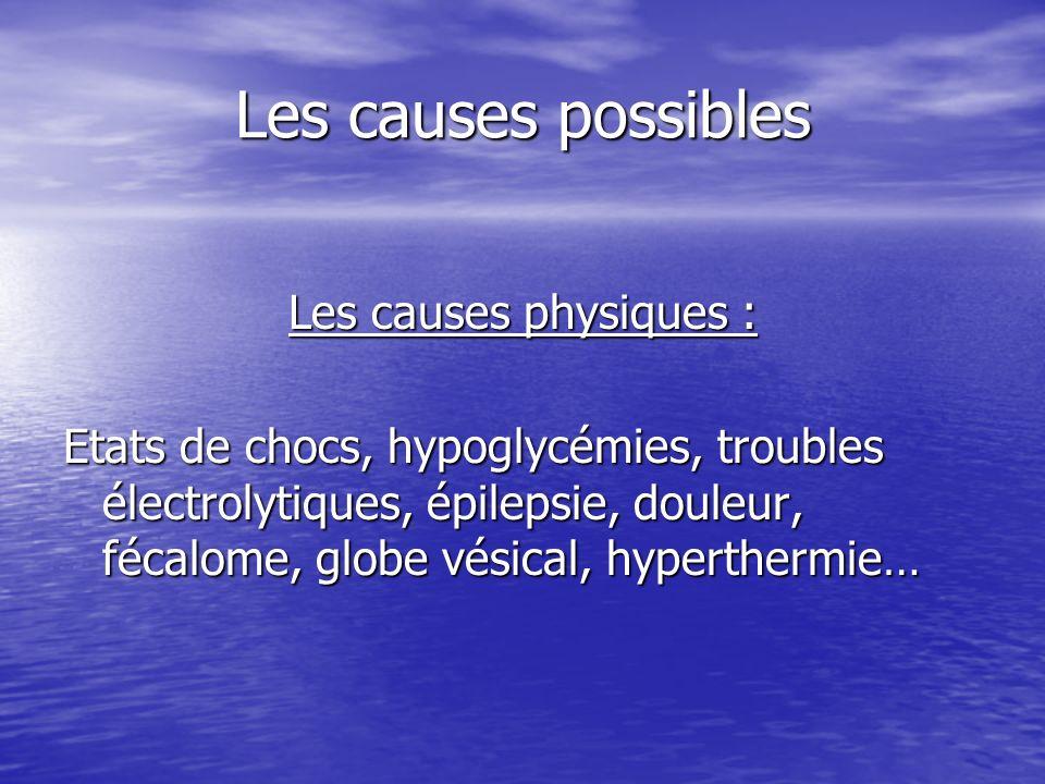 Les causes possibles Les causes physiques : Etats de chocs, hypoglycémies, troubles électrolytiques, épilepsie, douleur, fécalome, globe vésical, hype