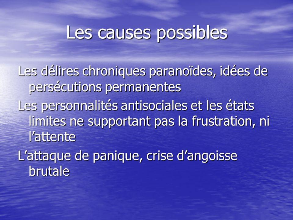 Les causes possibles Les délires chroniques paranoïdes, idées de persécutions permanentes Les personnalités antisociales et les états limites ne suppo
