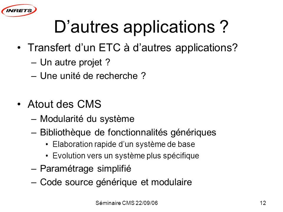 Séminaire CMS 22/09/0612 Dautres applications ? Transfert dun ETC à dautres applications? –Un autre projet ? –Une unité de recherche ? Atout des CMS –