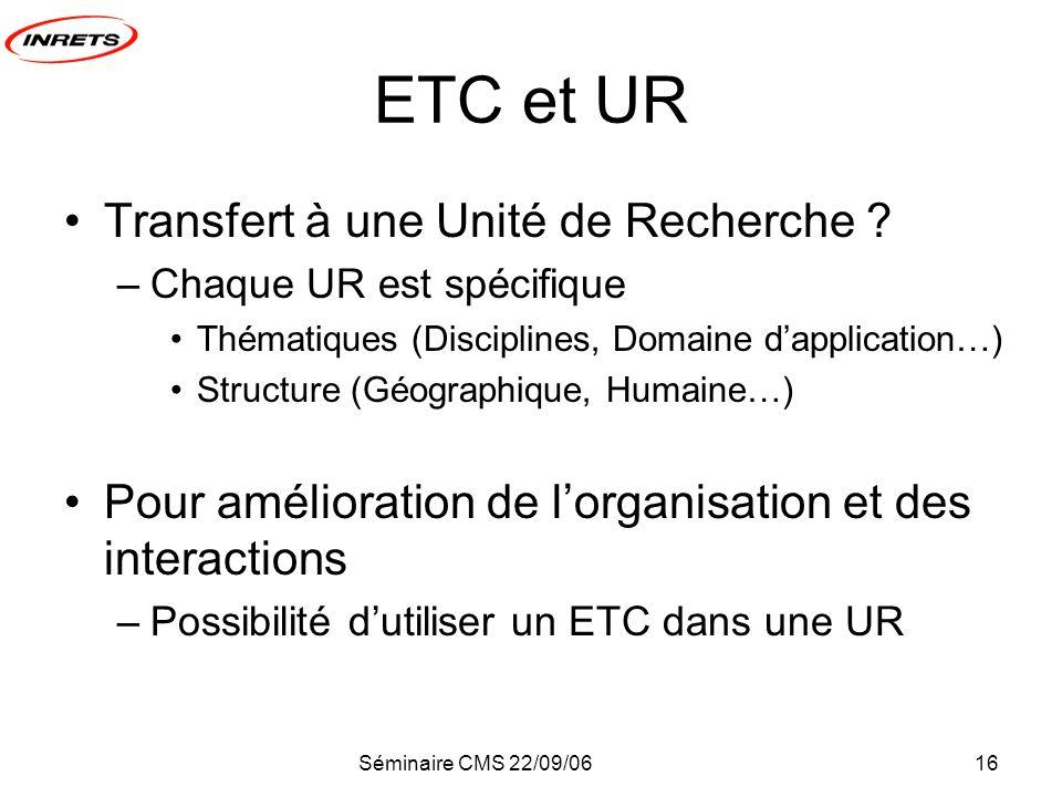 Séminaire CMS 22/09/0616 ETC et UR Transfert à une Unité de Recherche .
