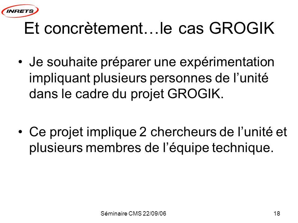 Séminaire CMS 22/09/0618 Et concrètement…le cas GROGIK Je souhaite préparer une expérimentation impliquant plusieurs personnes de lunité dans le cadre du projet GROGIK.