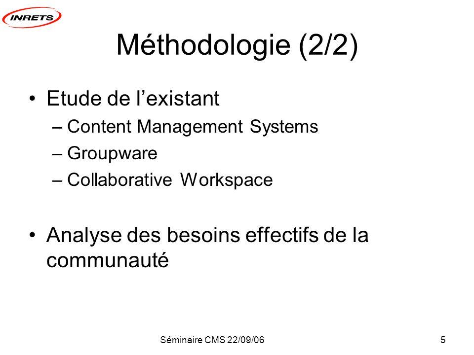 Séminaire CMS 22/09/065 Méthodologie (2/2) Etude de lexistant –Content Management Systems –Groupware –Collaborative Workspace Analyse des besoins effectifs de la communauté