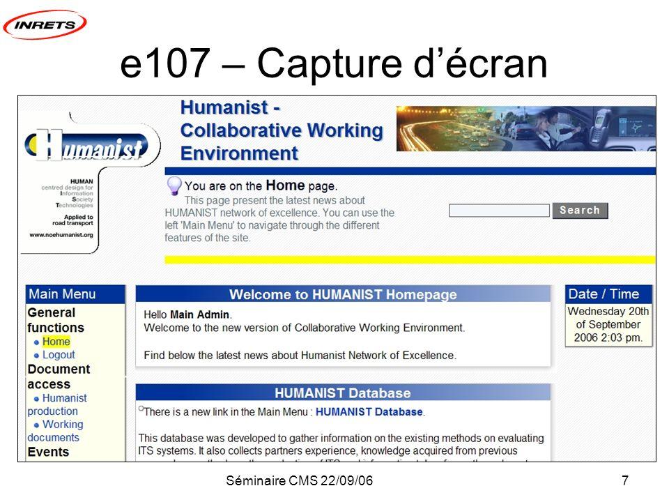 Séminaire CMS 22/09/067 e107 – Capture décran