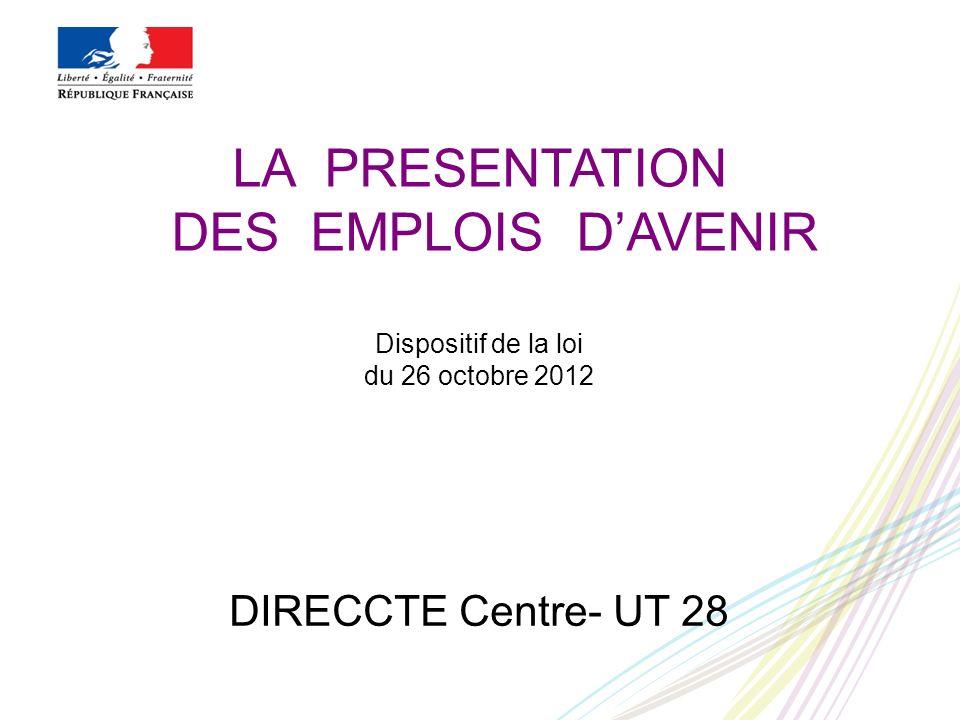 LA PRESENTATION DES EMPLOIS DAVENIR Dispositif de la loi du 26 octobre 2012 DIRECCTE Centre- UT 28