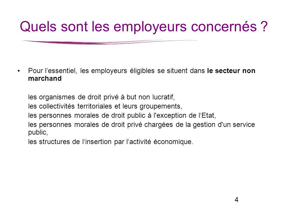 4 Pour lessentiel, les employeurs éligibles se situent dans le secteur non marchand les organismes de droit privé à but non lucratif, les collectivité