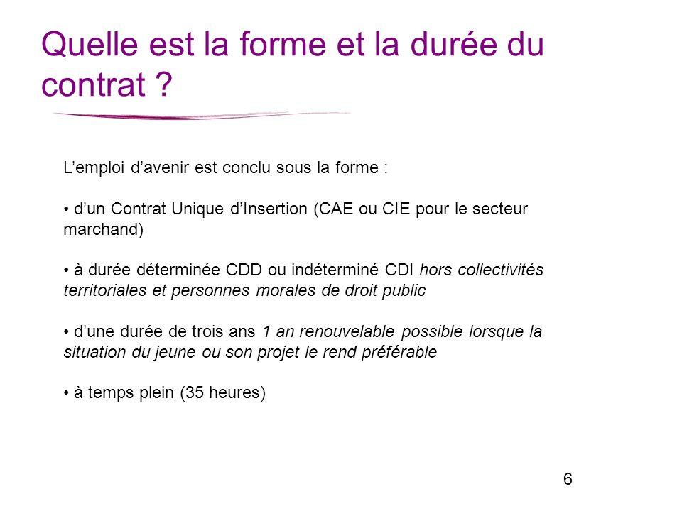 6 Quelle est la forme et la durée du contrat ? Lemploi davenir est conclu sous la forme : dun Contrat Unique dInsertion (CAE ou CIE pour le secteur ma