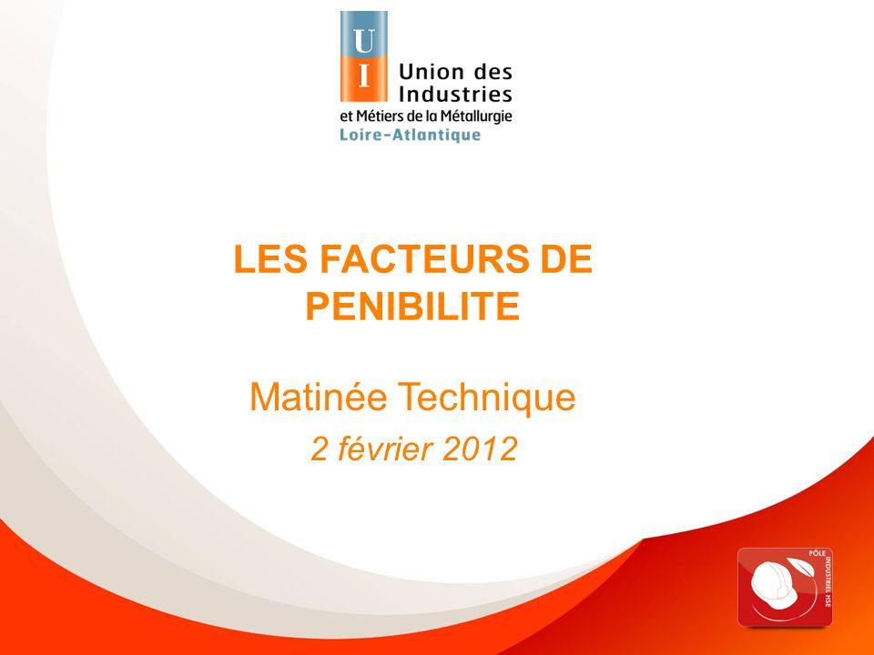 Matinée technique HSE « Facteurs de pénibilité » - 02/02/2012 LES FACTEURS DE PENIBILITE Matinée Technique 2 février 2012