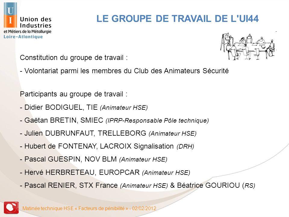 Matinée technique HSE « Facteurs de pénibilité » - 02/02/2012 LE GROUPE DE TRAVAIL DE L'UI44 Constitution du groupe de travail : - Volontariat parmi l