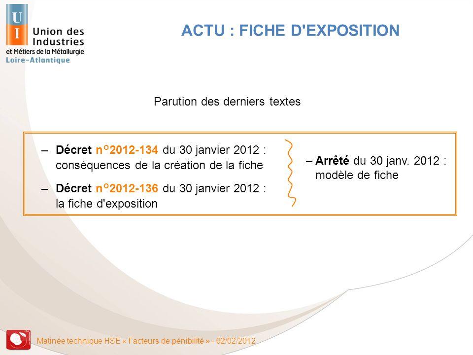 Matinée technique HSE « Facteurs de pénibilité » - 02/02/2012 ACTU : FICHE D'EXPOSITION –Décret n°2012-134 du 30 janvier 2012 : conséquences de la cré