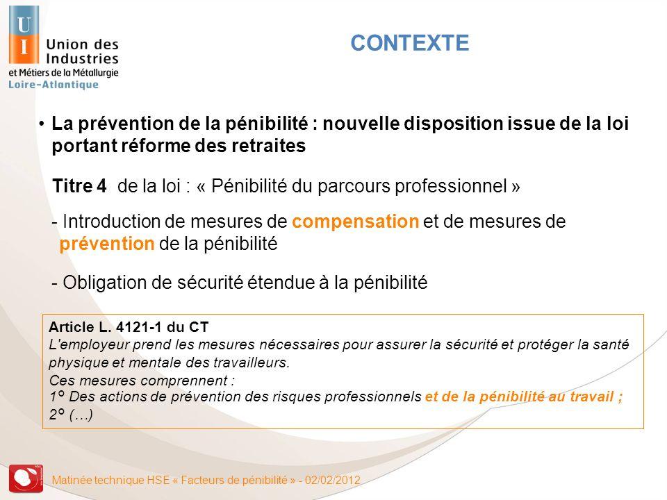 Matinée technique HSE « Facteurs de pénibilité » - 02/02/2012 La prévention de la pénibilité : nouvelle disposition issue de la loi portant réforme de