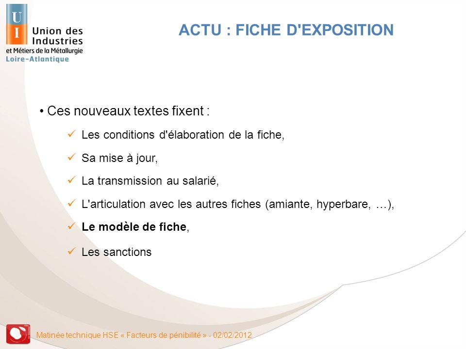 Matinée technique HSE « Facteurs de pénibilité » - 02/02/2012 ACTU : FICHE D'EXPOSITION Ces nouveaux textes fixent : Les conditions d'élaboration de l