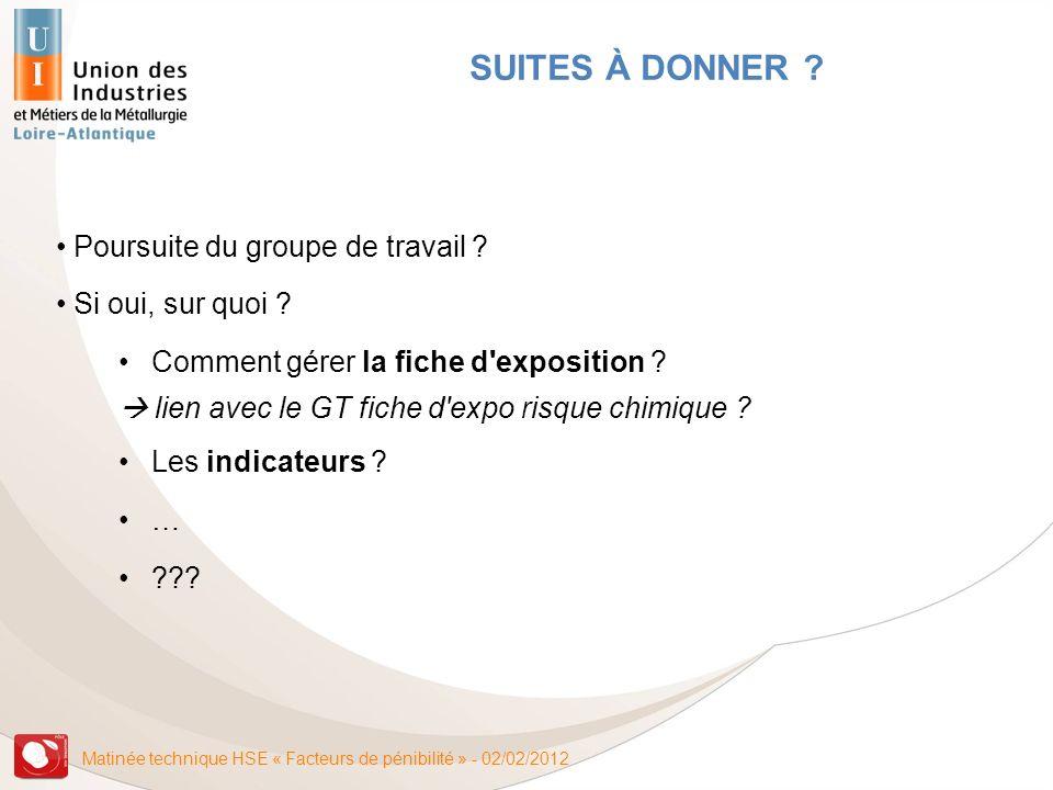 Matinée technique HSE « Facteurs de pénibilité » - 02/02/2012 Poursuite du groupe de travail ? Si oui, sur quoi ? Comment gérer la fiche d'exposition