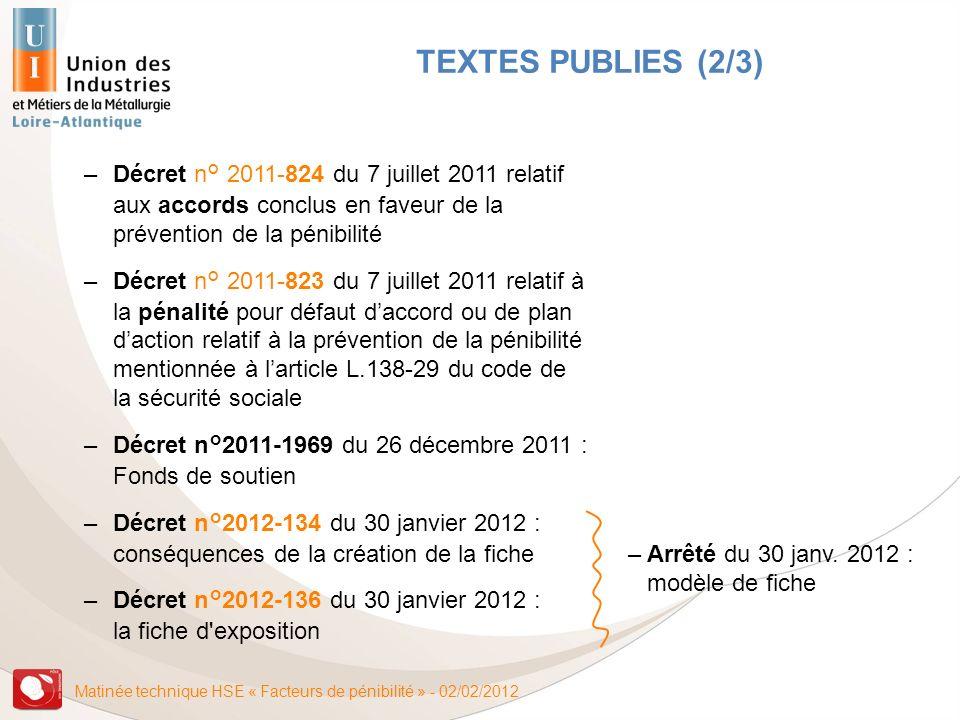 Matinée technique HSE « Facteurs de pénibilité » - 02/02/2012 –Décret n° 2011-824 du 7 juillet 2011 relatif aux accords conclus en faveur de la préven