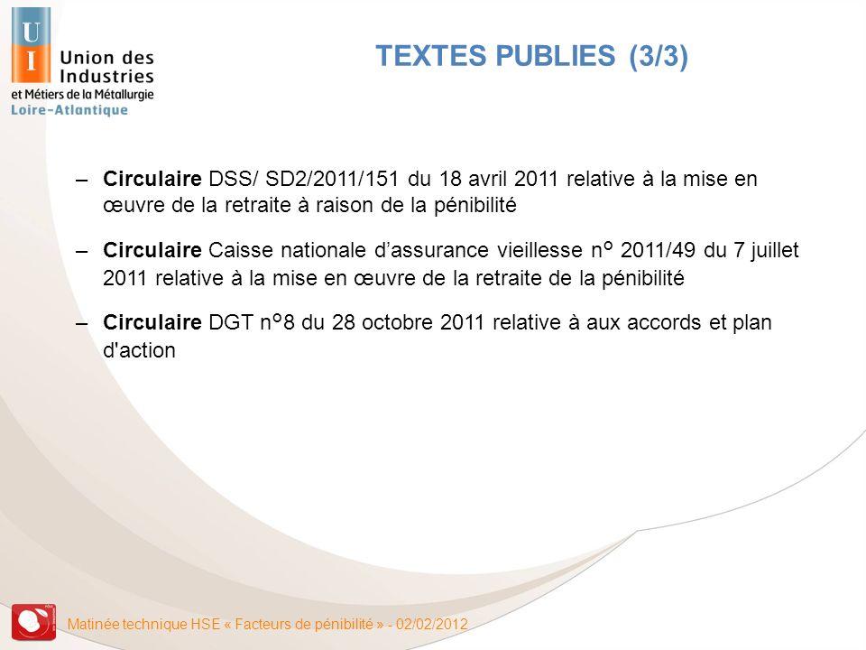 Matinée technique HSE « Facteurs de pénibilité » - 02/02/2012 TEXTES PUBLIES (3/3) –Circulaire DSS/ SD2/2011/151 du 18 avril 2011 relative à la mise e