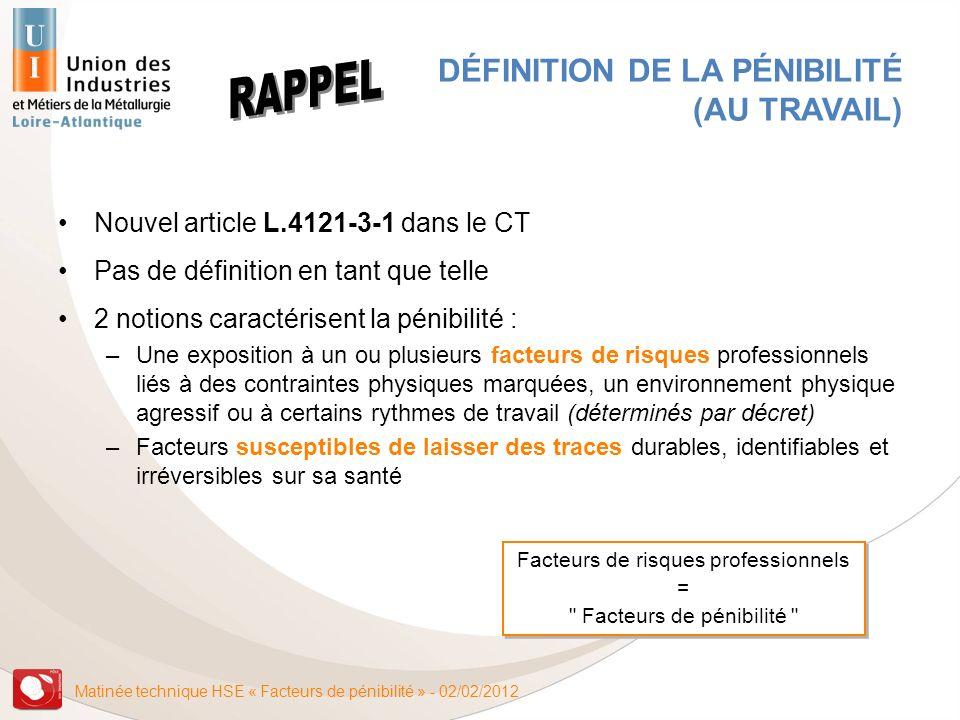 Matinée technique HSE « Facteurs de pénibilité » - 02/02/2012 DÉFINITION DE LA PÉNIBILITÉ (AU TRAVAIL) Nouvel article L.4121-3-1 dans le CT Pas de déf