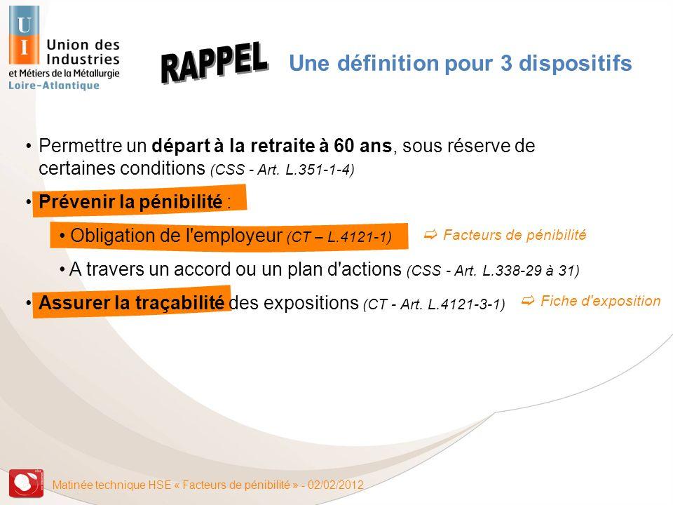 Matinée technique HSE « Facteurs de pénibilité » - 02/02/2012 Une définition pour 3 dispositifs Permettre un départ à la retraite à 60 ans, sous réser