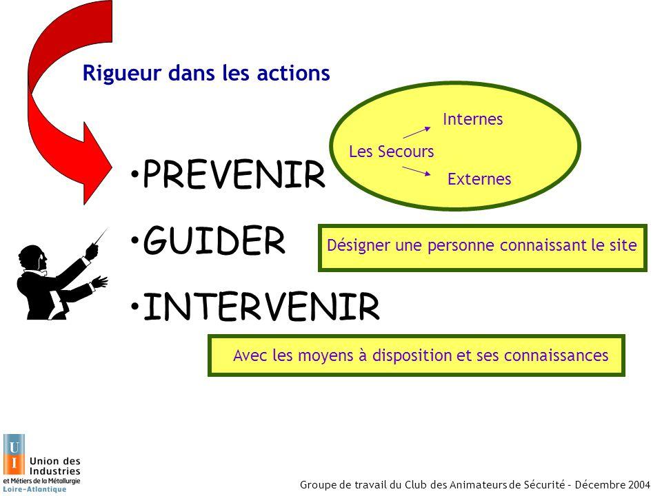 Groupe de travail du Club des Animateurs de Sécurité – Décembre 2004 Rigueur dans les actions PREVENIR GUIDER INTERVENIR Les Secours Internes Externes