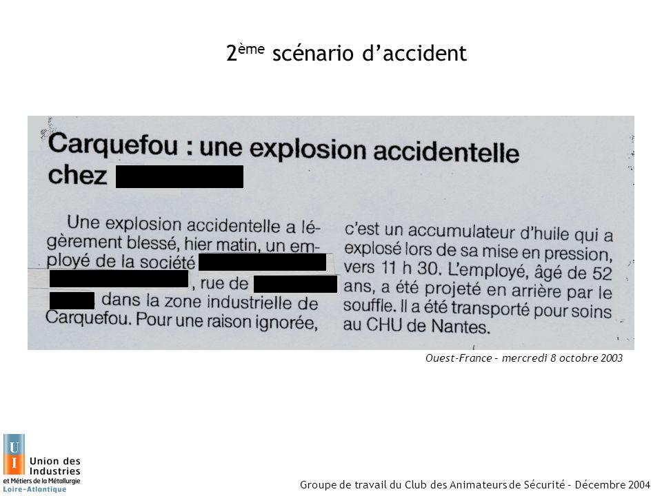 Groupe de travail du Club des Animateurs de Sécurité – Décembre 2004 2 ème scénario daccident Ouest-France – mercredi 8 octobre 2003