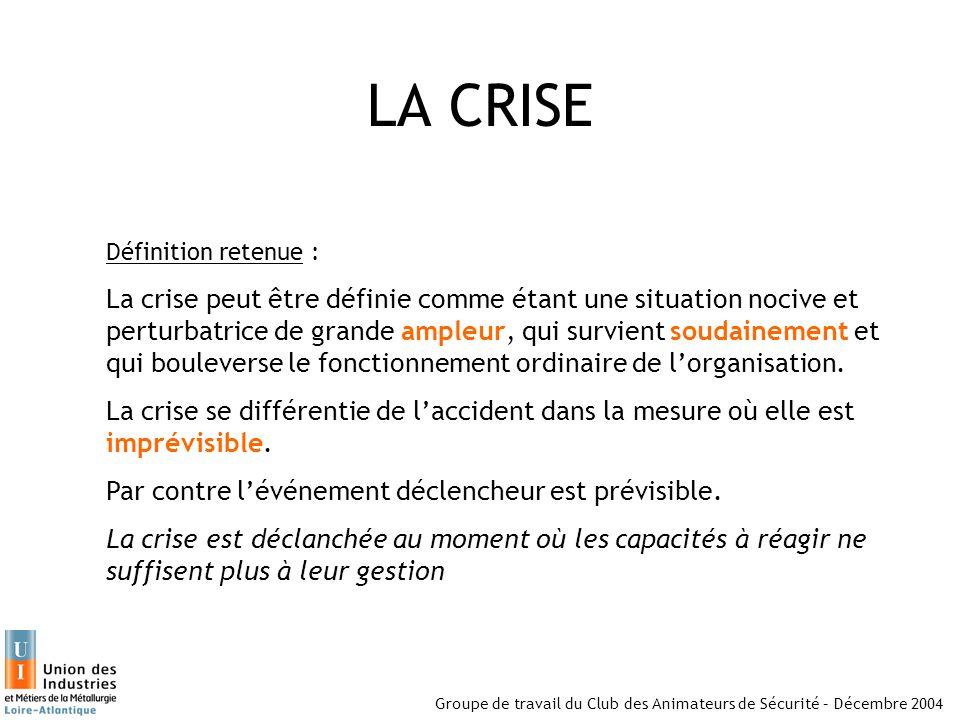 Groupe de travail du Club des Animateurs de Sécurité – Décembre 2004 LA CRISE Définition retenue : La crise peut être définie comme étant une situatio