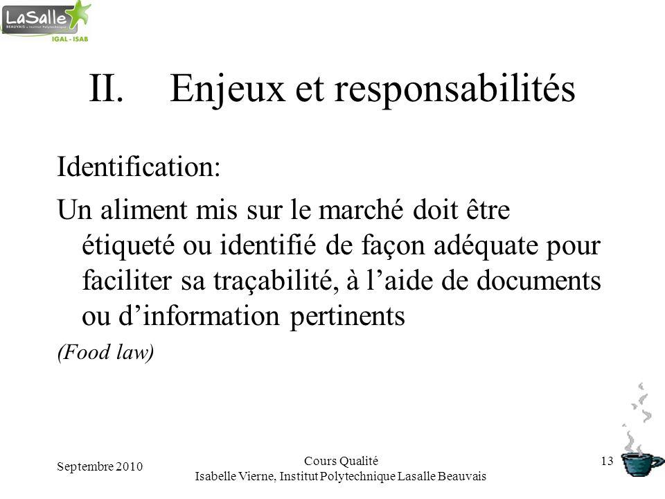 Septembre 2010 Cours Qualité Isabelle Vierne, Institut Polytechnique Lasalle Beauvais 13 II.Enjeux et responsabilités Identification: Un aliment mis s