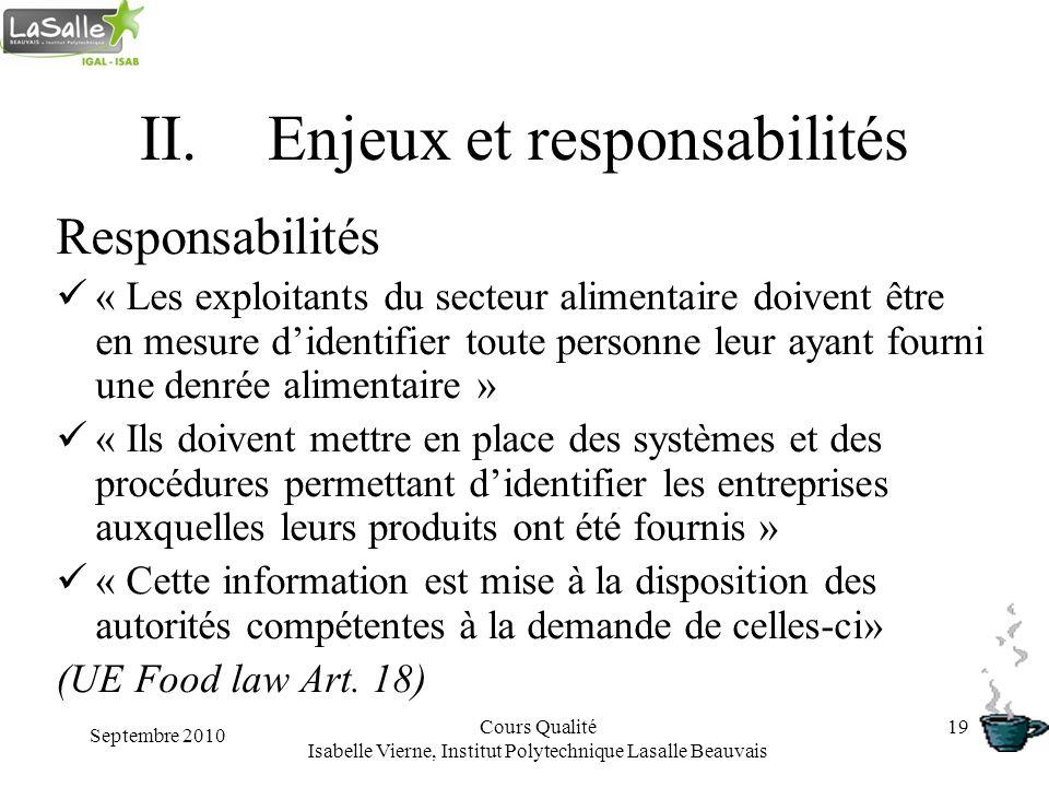 Septembre 2010 Cours Qualité Isabelle Vierne, Institut Polytechnique Lasalle Beauvais 19 II.Enjeux et responsabilités Responsabilités « Les exploitant