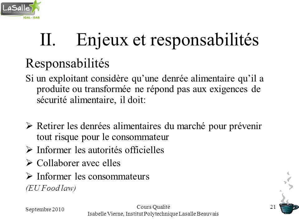 Septembre 2010 Cours Qualité Isabelle Vierne, Institut Polytechnique Lasalle Beauvais 21 II.Enjeux et responsabilités Responsabilités Si un exploitant