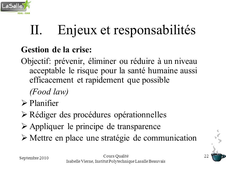 Septembre 2010 Cours Qualité Isabelle Vierne, Institut Polytechnique Lasalle Beauvais 22 II.Enjeux et responsabilités Gestion de la crise: Objectif: p