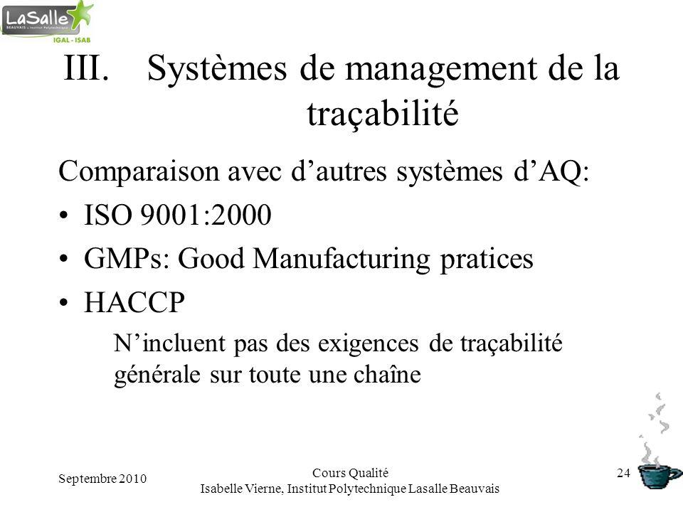 Septembre 2010 Cours Qualité Isabelle Vierne, Institut Polytechnique Lasalle Beauvais 24 III.Systèmes de management de la traçabilité Comparaison avec