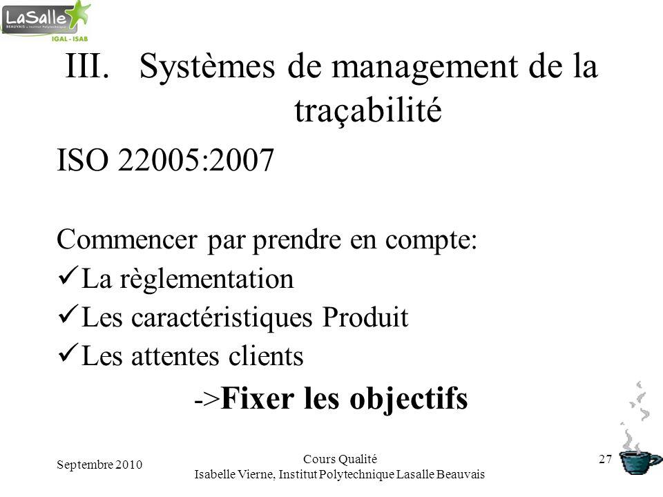 Septembre 2010 Cours Qualité Isabelle Vierne, Institut Polytechnique Lasalle Beauvais 27 III.Systèmes de management de la traçabilité ISO 22005:2007 C