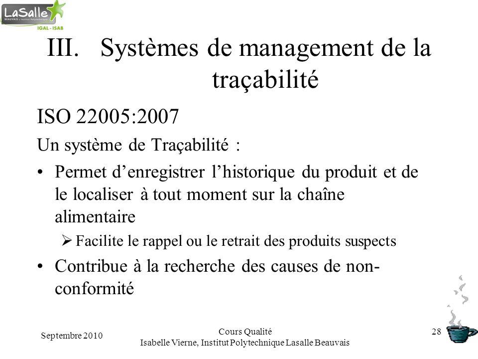 Septembre 2010 Cours Qualité Isabelle Vierne, Institut Polytechnique Lasalle Beauvais 28 III.Systèmes de management de la traçabilité ISO 22005:2007 U