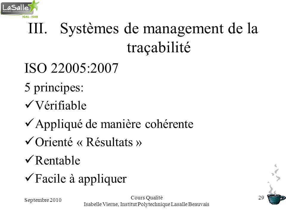 Septembre 2010 Cours Qualité Isabelle Vierne, Institut Polytechnique Lasalle Beauvais 29 III.Systèmes de management de la traçabilité ISO 22005:2007 5