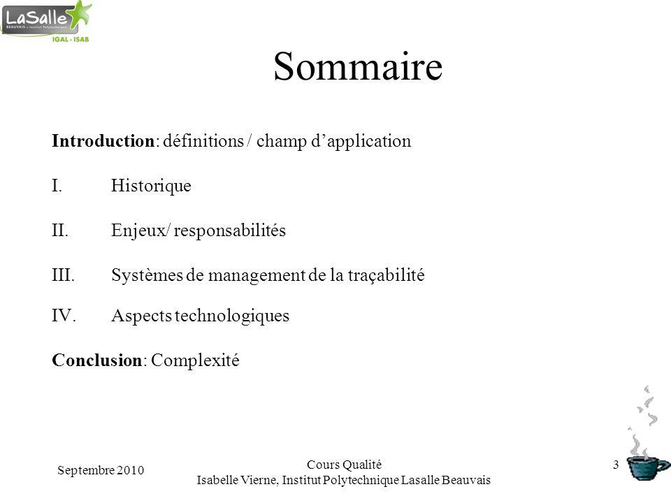 Septembre 2010 Cours Qualité Isabelle Vierne, Institut Polytechnique Lasalle Beauvais 3 Sommaire Introduction: définitions / champ dapplication I.Hist